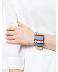 Marni - Blue Woven Pearl Cuff Bracelet - Lyst
