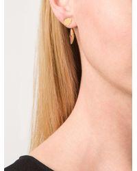 Marie-hélène De Taillac | Metallic 22kt Gold Cloud & Pink Tourmaline Lightning Bolt Earrings | Lyst