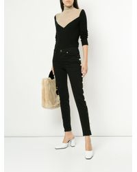 Tu Es Mon Tresor - Black Side-embellished Skinny Jeans - Lyst