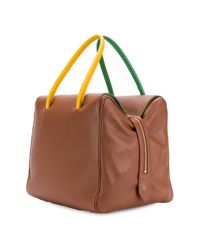 Sara Battaglia - Brown Bicolour Strap Boxy Tote Bag - Lyst