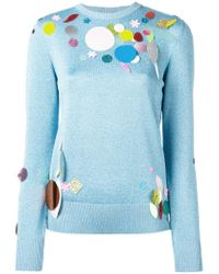 Christopher Kane - Blue Sequin Detail Metallic Sweater - Lyst