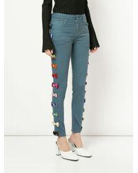 Tu Es Mon Tresor - Blue Velvet Bow Skinny Jeans - Lyst