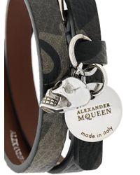 Alexander McQueen - Black Double-wrap Skull Bracelet for Men - Lyst