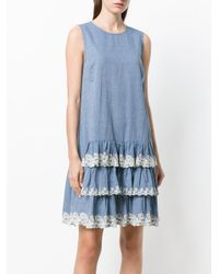 Twin Set - Blue Tiered Short Dress - Lyst