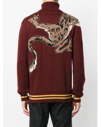 Dolce & Gabbana - Red Crowned Leopard Knit Jumper for Men - Lyst