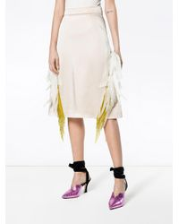 Prada - Natural Feather Embellished Beaded Skirt - Lyst