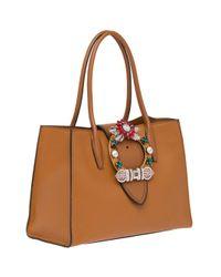Miu Miu Brown Madras Tote Bag