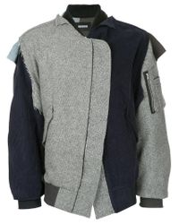 Moohong | Gray Asymmetric Bomber Jacket for Men | Lyst