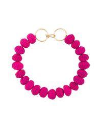 Carolina Herrera - Pink Raffia Beads Necklace - Lyst