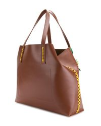 P.A.R.O.S.H. - Brown Side Embellished Tote Bag - Lyst