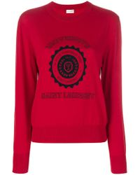 Saint Laurent - Red Université Sweater - Lyst