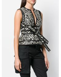DSquared² - Black Zebra Print Wrap Top - Lyst