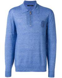 Billionaire - Blue Longsleeved Polo Shirt for Men - Lyst