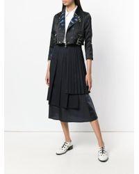 Comme des Garçons - Black Floral Jacquard Cropped Biker Jacket - Lyst