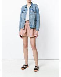 Stella McCartney - Pink Faux Leather Shorts - Lyst