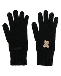 Moschino - Black Embroidered Teddy Gloves - Lyst