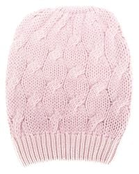 Cruciani - Pink Cable Knit Beanie - Lyst