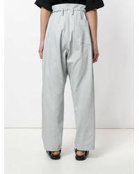 Y's Yohji Yamamoto Gray High Waist Wide Leg Trousers