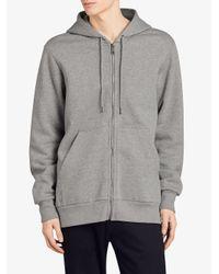 Burberry - Gray Zip-front Hoodie for Men - Lyst