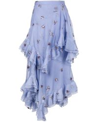 Erdem | Multicolor Elsa Floral Embroidered Tiered Ruffle Skirt | Lyst