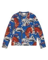Gucci - Blue Bengal Print Sweatshirt for Men - Lyst