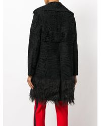 Valentino - Black Persian Lamb Fur Trim Coat - Lyst