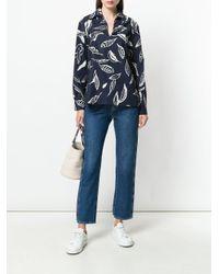Aspesi Blue Feather Print Split Neck Shirt