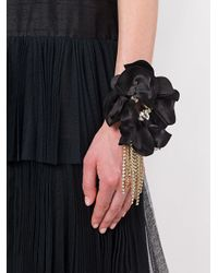 Lanvin - Black Flower Applique Bracelet - Lyst