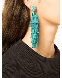 Oscar de la Renta - Green Tiered Tassel Drop Earrings - Lyst