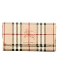 Burberry - Natural Haymarket Check Ziparound Wallet - Lyst