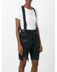 Faith Connexion - Black Suspenders Ripped Shorts - Lyst