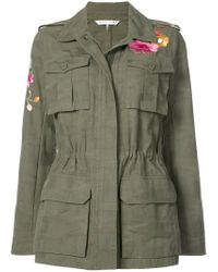 Trina Turk - Green Floral Appliqué Military Cargo Jacket - Lyst