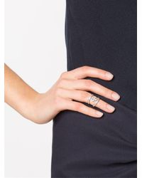 Loree Rodkin - Metallic Mini Halo Princess Cross Diamond Mid Finger Ring - Lyst