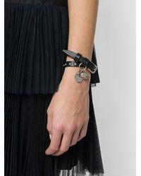 Alexander McQueen - Black Skull Charm Wrap Around Bracelet - Lyst