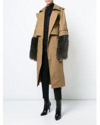 Vera Wang - Brown Detachable Fur Sleeve Trench Coat - Lyst