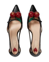 Gucci - Black Leather Cherry Pumps - Lyst