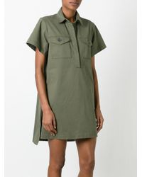T By Alexander Wang - Green Military Shirt Dress - Lyst