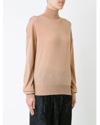 Ms Min - Natural Roll-neck Jumper - Lyst