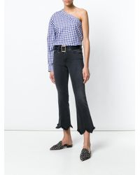 FRAME - Gray Jagged Hem Kick Flare Jeans - Lyst