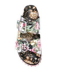 Alexander McQueen - Black Floral Print Sandals - Lyst