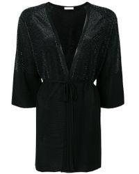 Cruciani - Black Lurex Tie Front Cardigan - Lyst