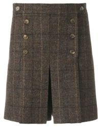 Mulberry - Brown Checked Pleat Shorts - Lyst