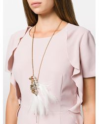 Lanvin - Metallic Pendant Necklace - Lyst