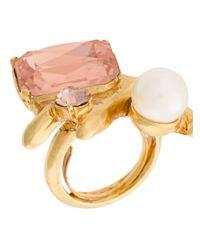 Oscar de la Renta - Metallic Coral Crystal Ring - Lyst