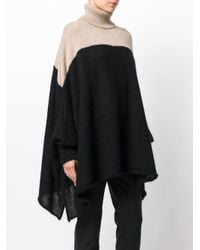 Lost and Found Rooms - Black Contrast Knit Draped Sweater - Lyst