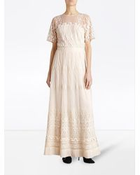 Burberry - White Embroidered Tulle Dress - Lyst