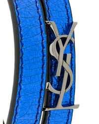 Saint Laurent - Blue Leather Bracelet - Lyst