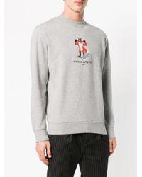 Maison Kitsuné - Gray Logo Embroidered Sweatshirt for Men - Lyst