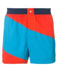 KENZO - Blue Striped Swim Shorts for Men - Lyst