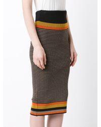 Osklen - Brown Striped Knitted Skirt - Lyst